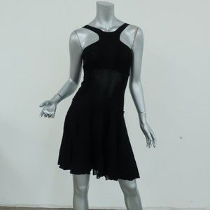 Chanel Dress Black Pleated Ribbed Knit